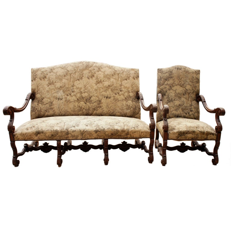Jacobean throne style hall bench with matching arm chair for Matching arm chairs