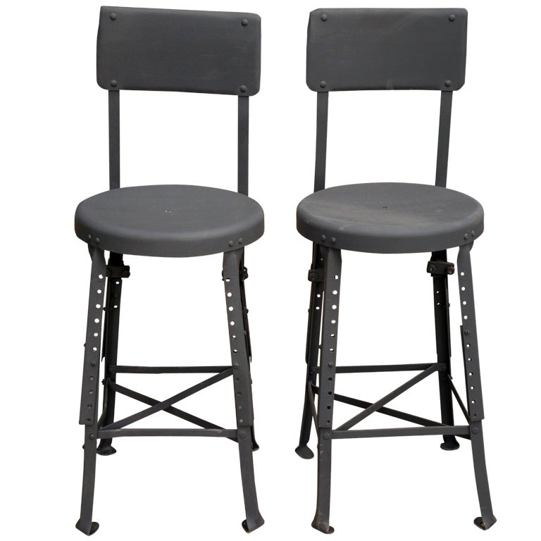 Pair Of Industrial Bar Kitchen Stools At 1stdibs