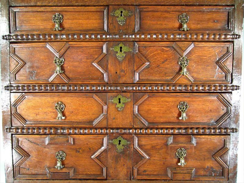 Charles II Oak Chest on Stand In Good Condition For Sale In Great Barrington, MA