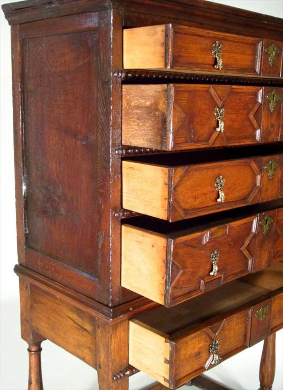 18th Century and Earlier Charles II Oak Chest on Stand For Sale