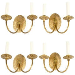 4 Neoclassical Gilt-Metal Sconces