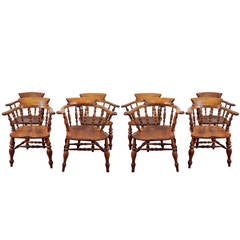 Set of Eight English Captain's Chairs