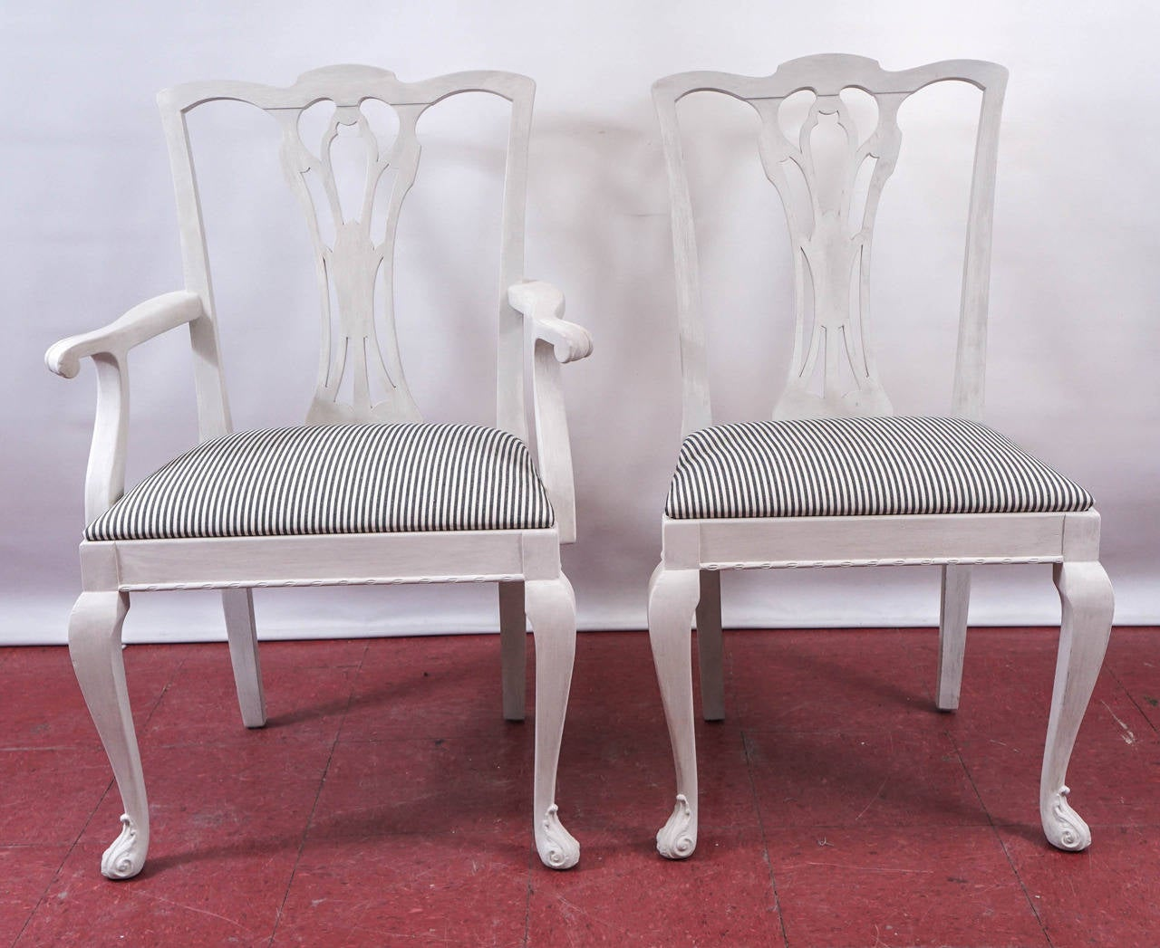 American Six Painted Chippendale-Style Dining Chairs For Sale