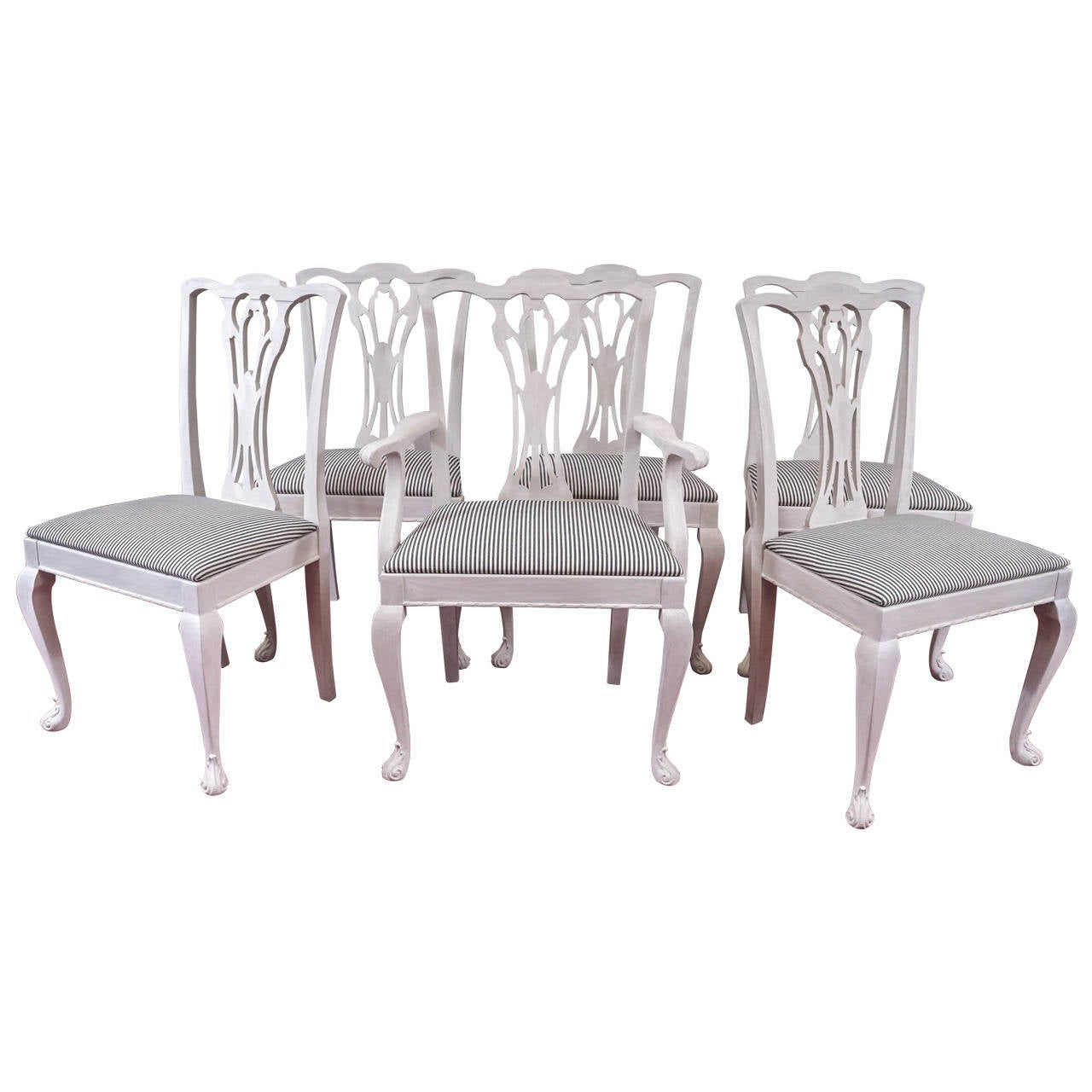 Six Painted Chippendale-Style Dining Chairs For Sale