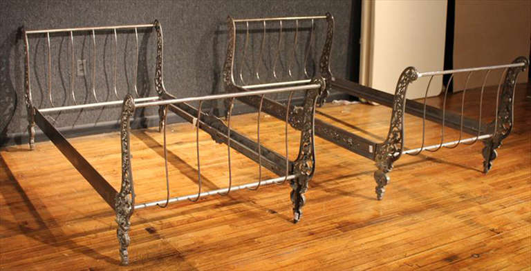 pair of twin metal sleigh beds 2 - Twin Sleigh Bed