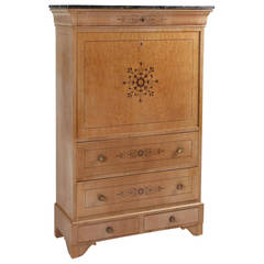 Biedermeier-Style Burl Wood Fall Front Secretary