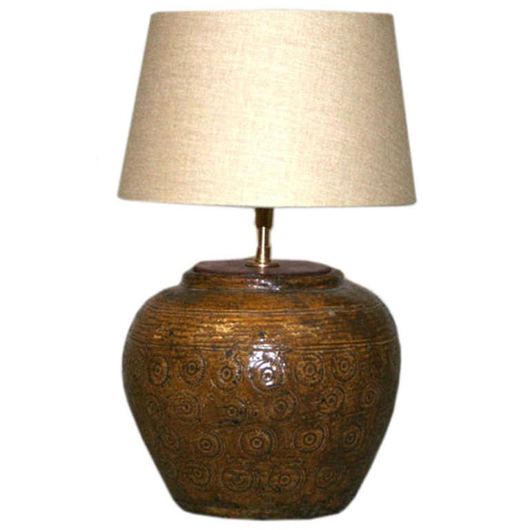antique chinese ginger jar table lamp at 1stdibs. Black Bedroom Furniture Sets. Home Design Ideas