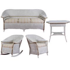 Stylish Four-Piece Heywood-Wakefield Wicker Set