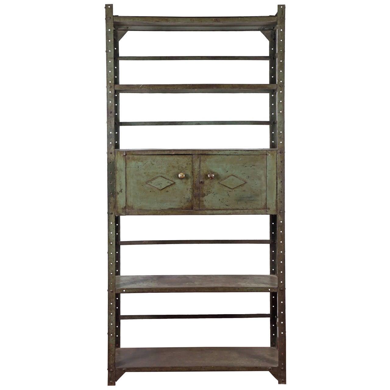 Industrial Steel Bookshelf Cabinet Unit
