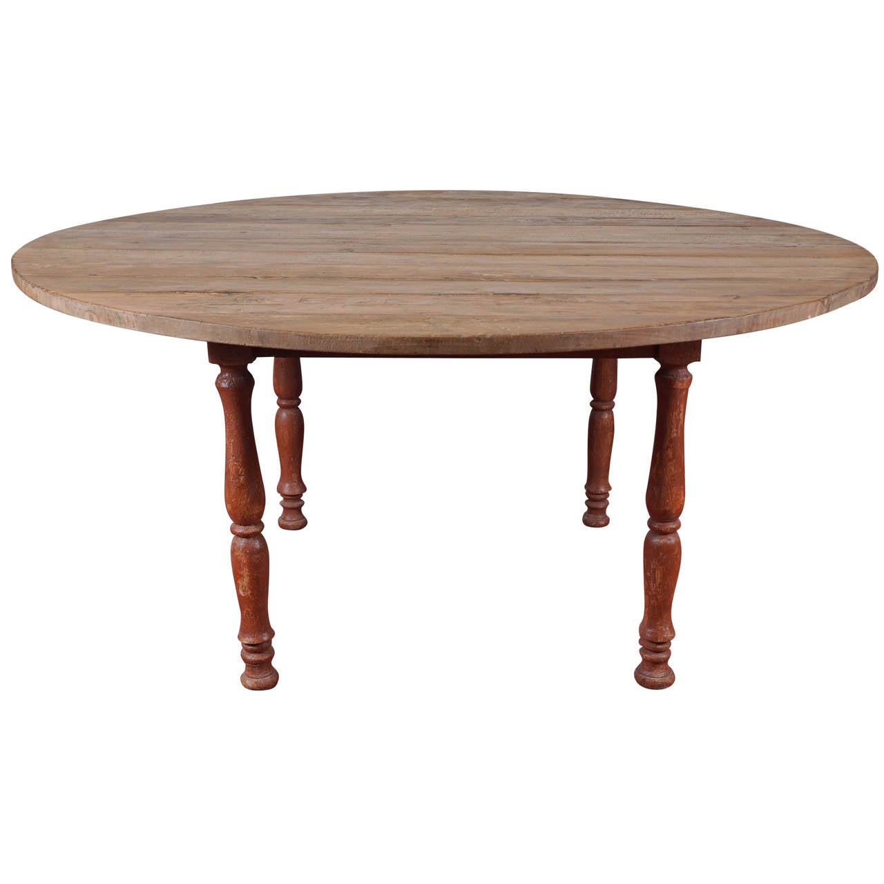 Antique round country dining table at 1stdibs for Antique dining room tables
