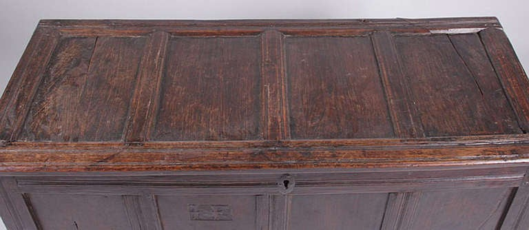 Charles II English Oak Chest 17th-18th Century For Sale