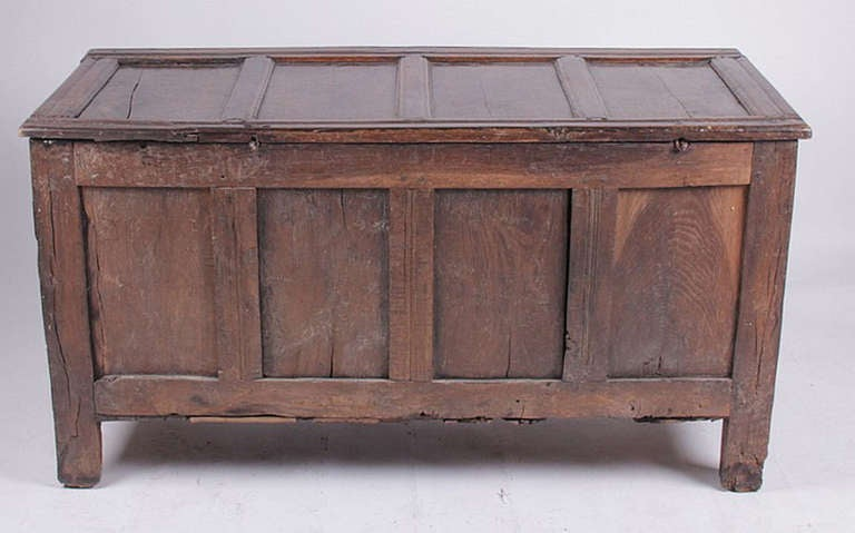 English Oak Chest 17th-18th Century For Sale 1