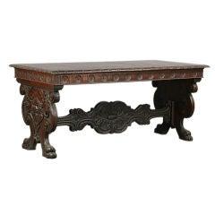 Antique Italian Renaissance Style Library Table