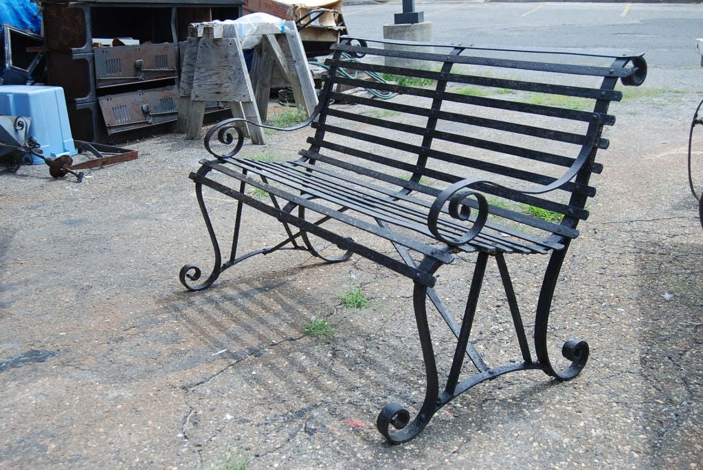 Vintage Metal Garden Bench At
