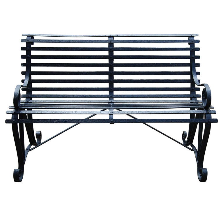 Vintage Metal Garden Bench At 1stdibs