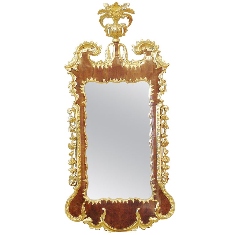 George ii walnut and gilded rococo mirror at 1stdibs for Gilded baroque mirror