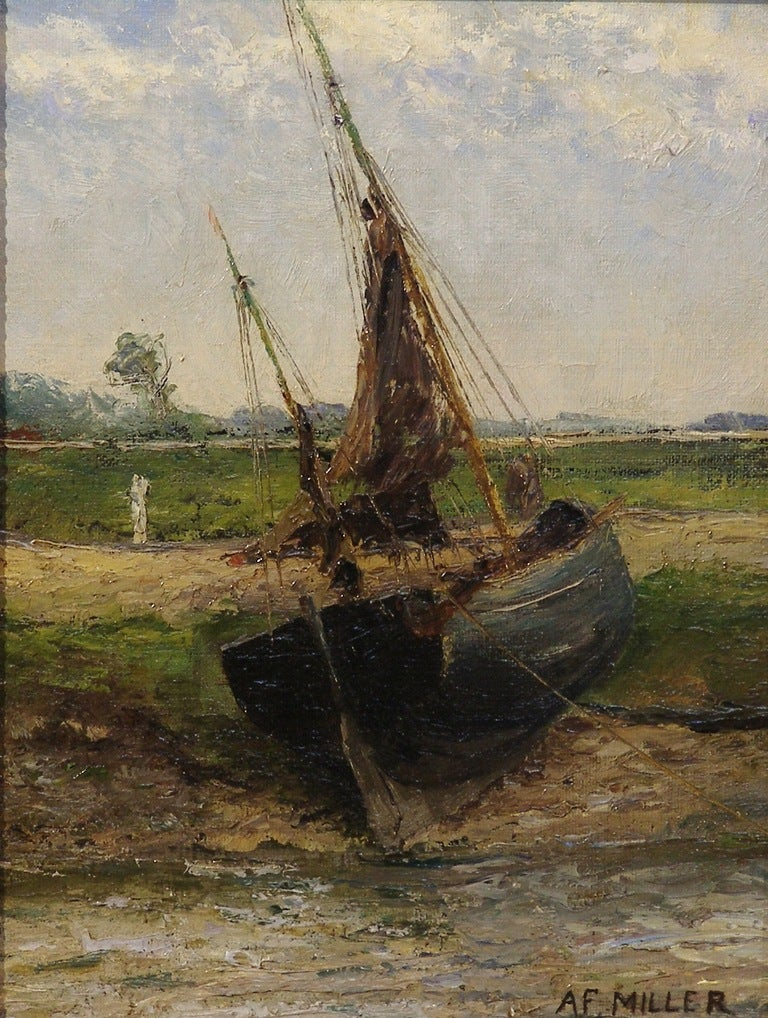Oil painting of a fishing boat hauled on shore by af for Fishing boat painting