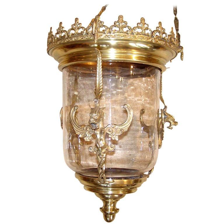 Brass Hanging Hall Lantern At 1stdibs