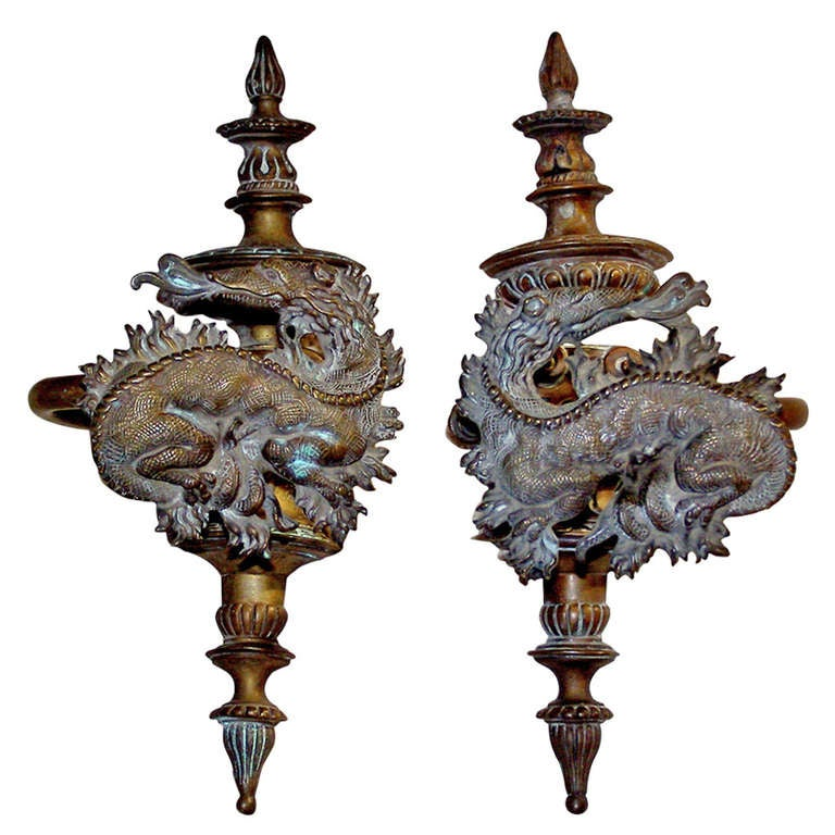 Large Pair Of French Bronze Dragon Motif Curtain Tie Backs