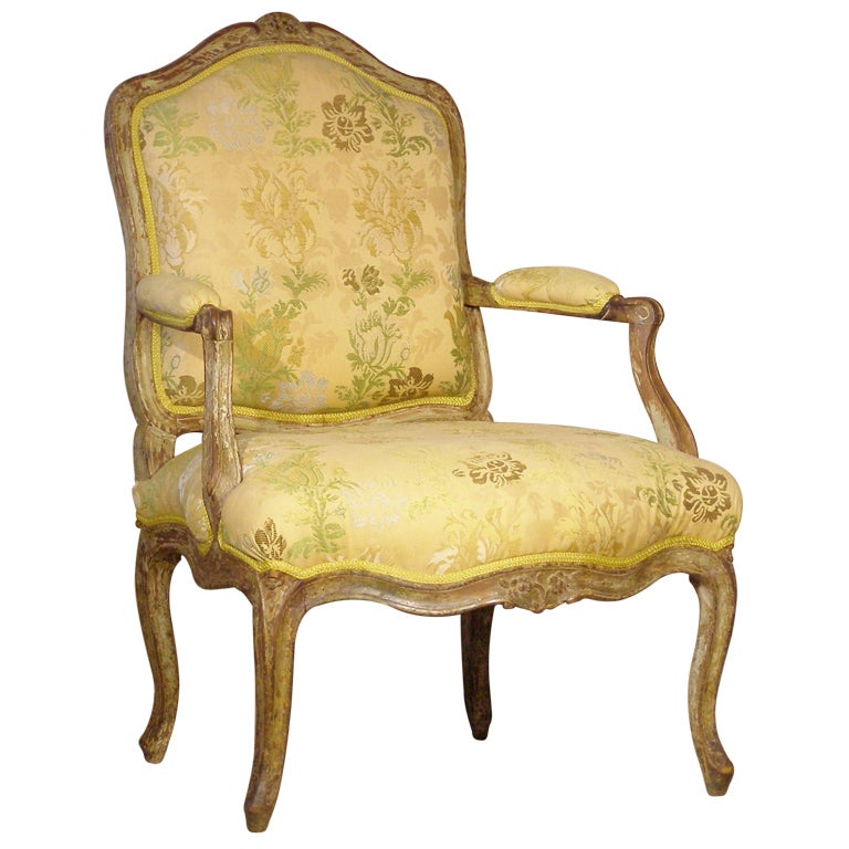 Louis xv french painted beech fauteuil a la reine arm chair at 1stdibs - Fauteuil louis xv moderne ...