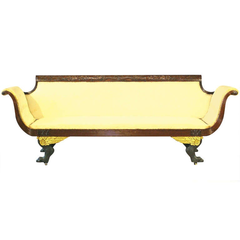 American neoclassical carved mahogany and gilded sofa new for Sofas in nyc