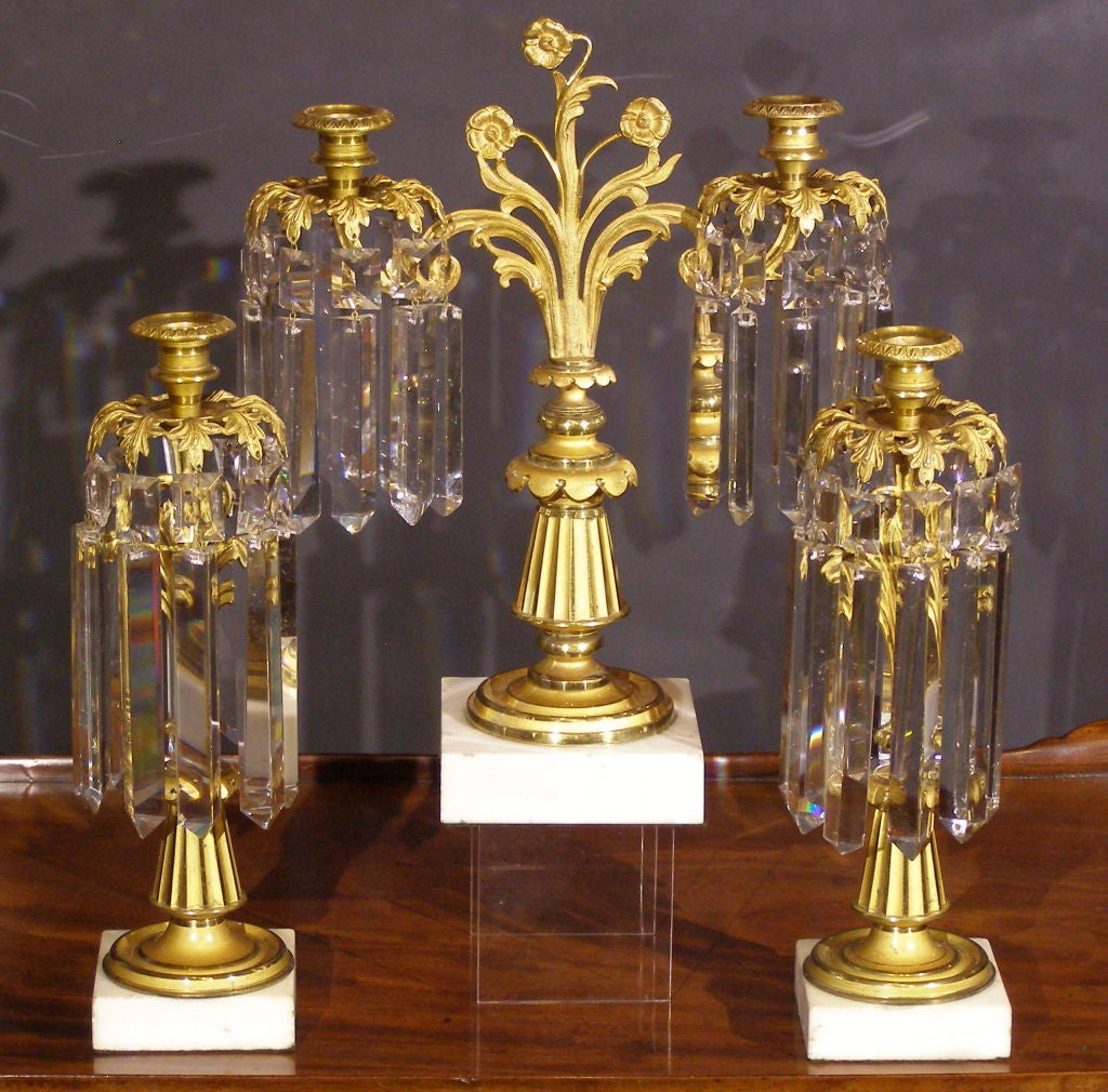 3 piece lustre candelabra gilt finish and crystal prism set at 1stdibs. Black Bedroom Furniture Sets. Home Design Ideas