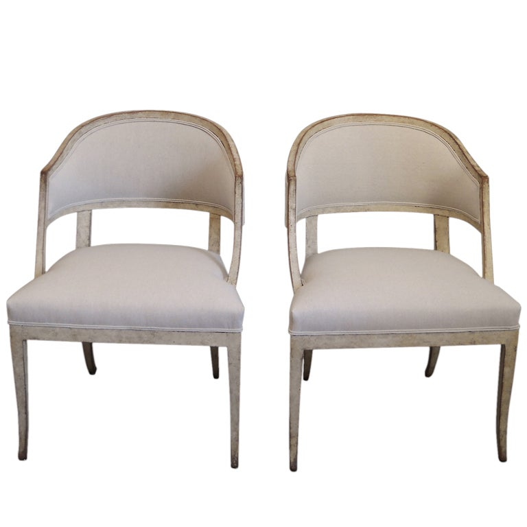 Pair Of Swedish Barrel Back Chairs At 1stdibs