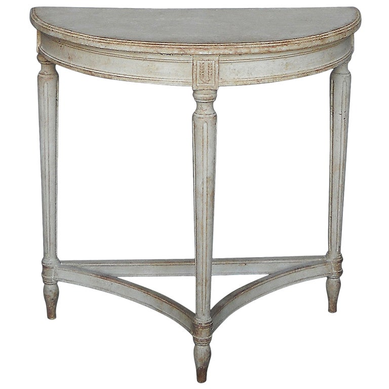 Small Gustavian Style Demilune Table At 1stdibs