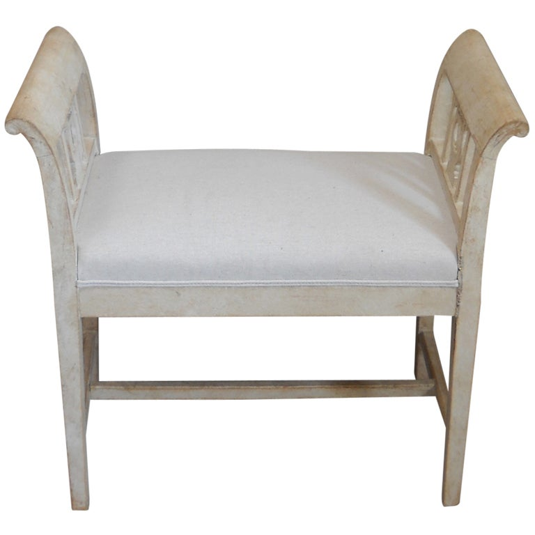 Small Swedish Bench With Arm Rests At 1stdibs