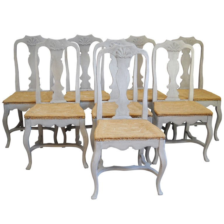 Set Of 8 Rococo Dining Chairs At 1stdibs