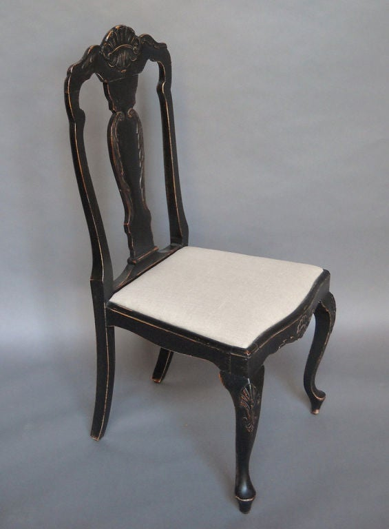 Set of black swedish rococo style dining chairs at 1stdibs for Swedish style dining chairs