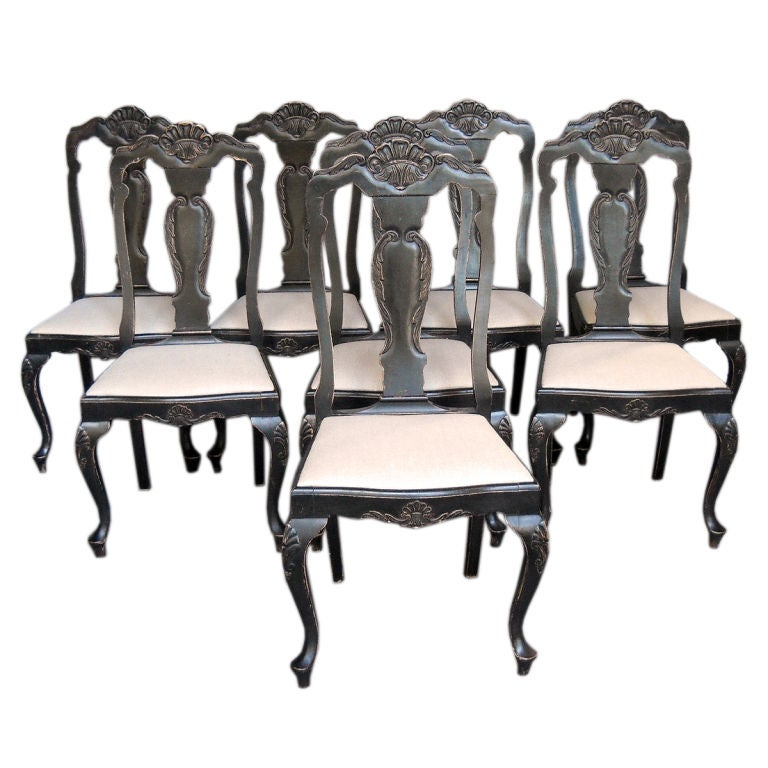 Set Of Black Swedish Rococo Style Dining Chairs At 1stdibs