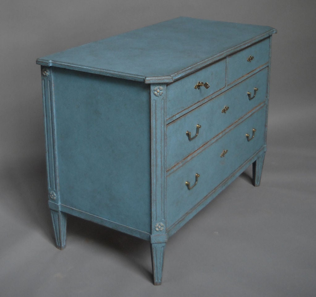 Carved Swedish Commode in Blue Paint