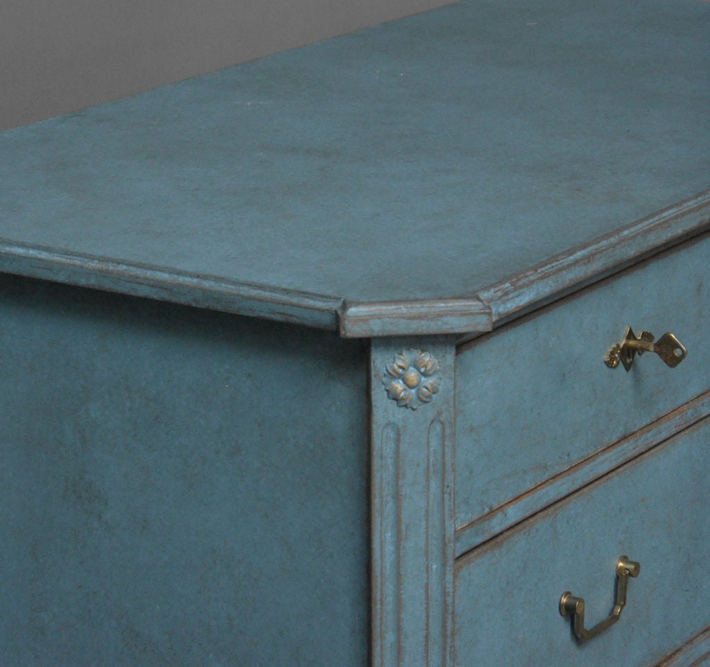 20th Century Swedish Commode in Blue Paint