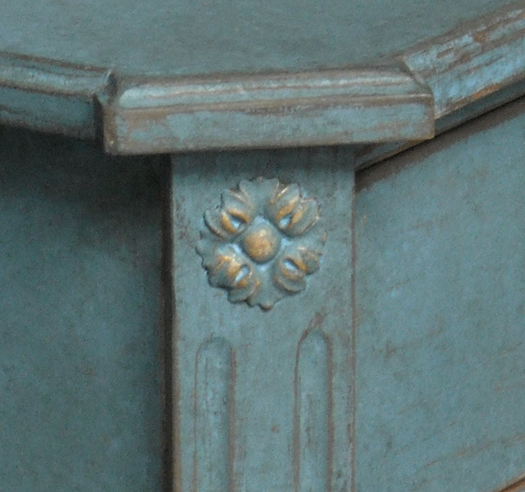 Pine Swedish Commode in Blue Paint