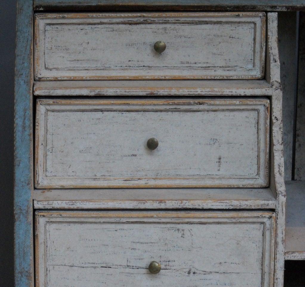 Wood Slant Front Writing Desk in Blue Paint