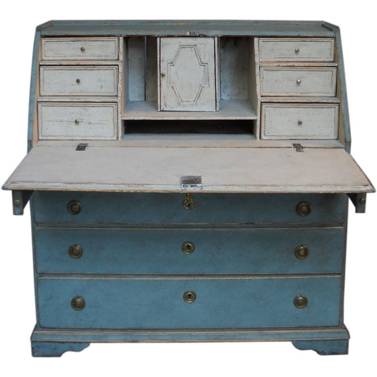 Slant Front Writing Desk in Blue Paint