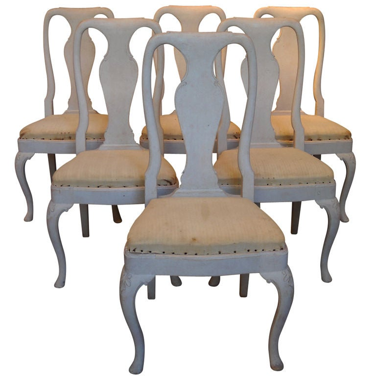 Set of twelve swedish rococo style dining chairs at 1stdibs for Swedish style dining chairs