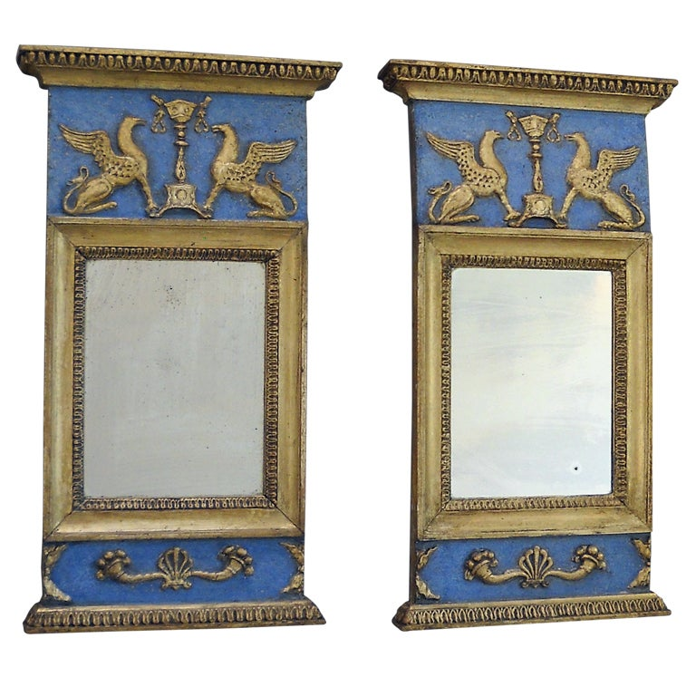 Pair Of Signed Gustavian Mirrors At 1stdibs