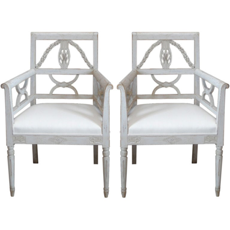 Pair of Carved Armchairs in the Swedish Empire Style at