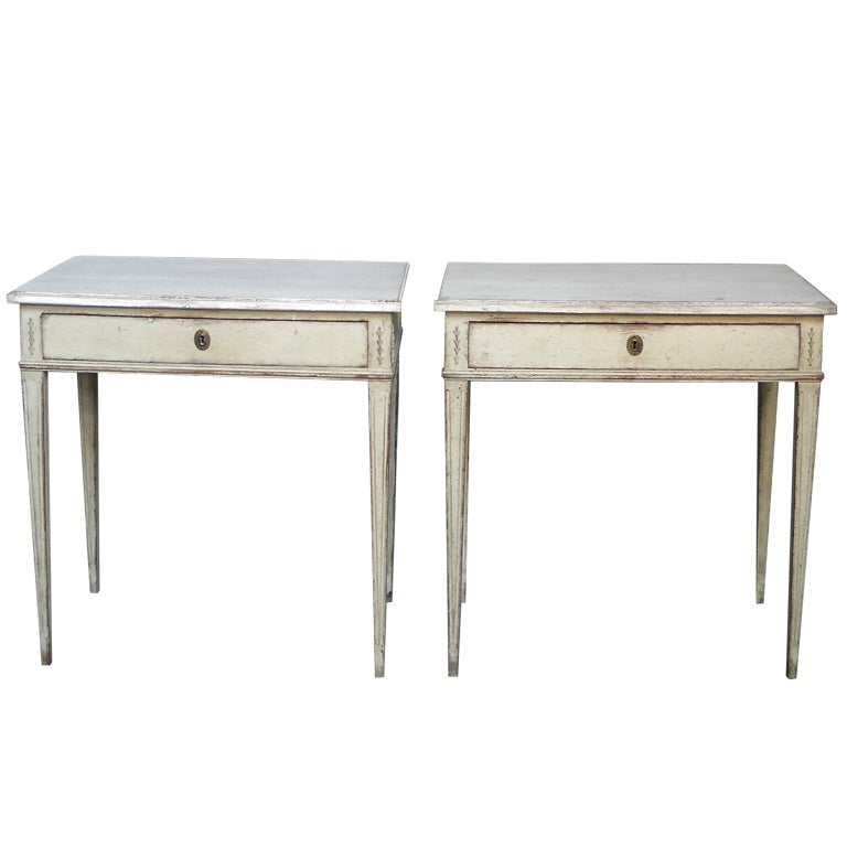 Pair Of Swedish Neoclassical Side Tables At 1stdibs