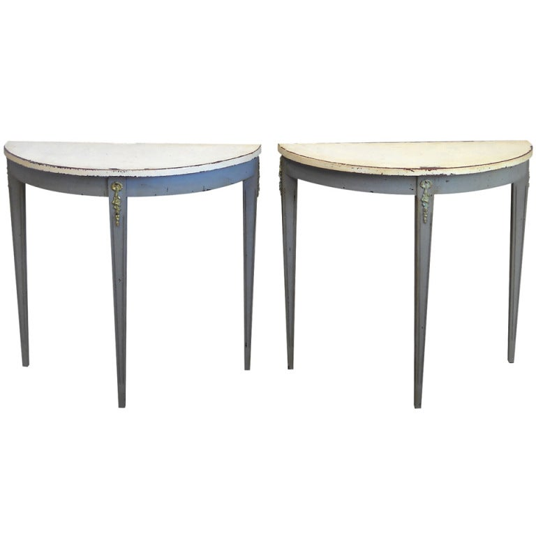 Pair of Small Demilune Tables at 1stdibs