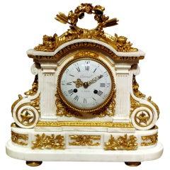 A Fine Louis XVI  Marble & Gilt Bronze Clock by Jean Corrier