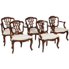 A Rare Set of Five diminuitive Portuguese Armchairs