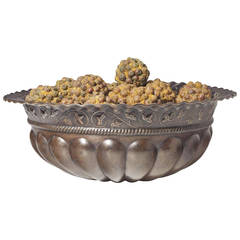 Fine Repousse Patinated Metal Bowl