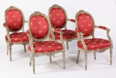 A Set of Four Louis XVI Grey Painted Fauteuils a la Reine, 18th Century