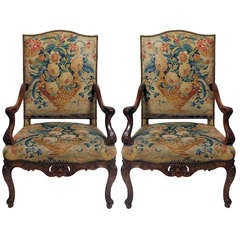 A Fine Pair of Late Regence /Louis XV Beechwood/Walnut Stained Fauteuils A La Re