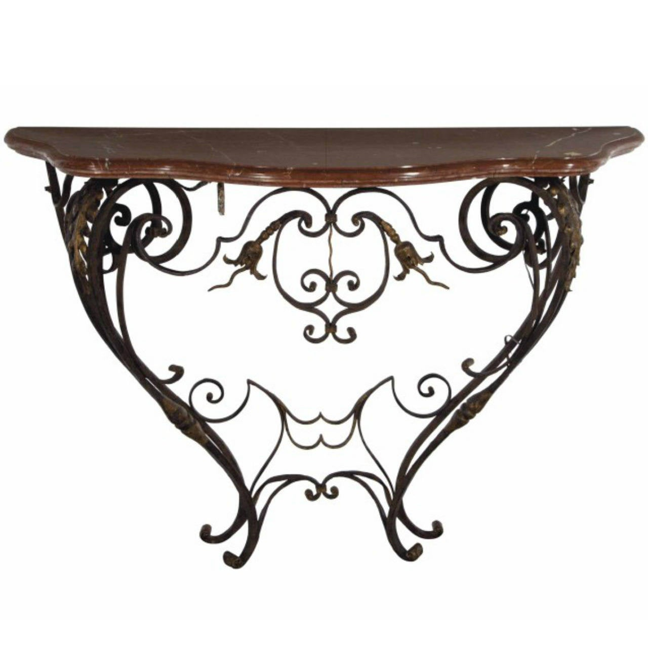 Fine French Wrought Iron And Parcel Gilt Marble Top Console Table 1