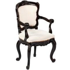A Rare  Solid Ebony Rococo Armchair,Colonial Portuguese