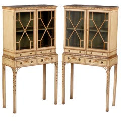 A Fine & Rare Pair of George III Painted Diminuitive Cabinets on Stands